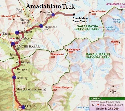 Amadablam base camp map